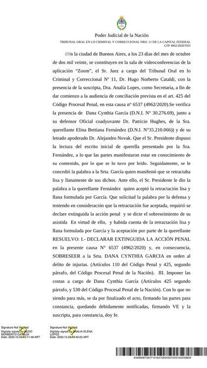 El veredicto al que tuvo acceso Infobae