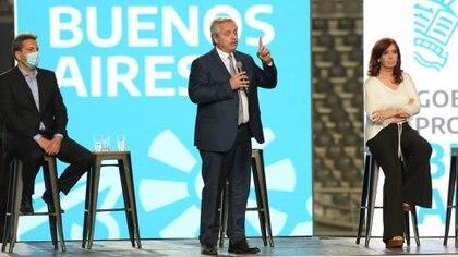 Sergio Massa, Alberto Fernández y Cristina Kirchner se mostraron en público juntos por última vez en un acto en La Plata (Marcos Gomez)