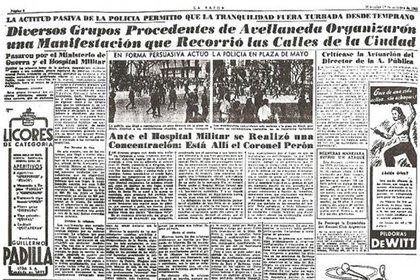 El diario La Razón de octubre de 1945