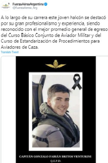 The Argentine Air Force marked the young 34-year-old pilot