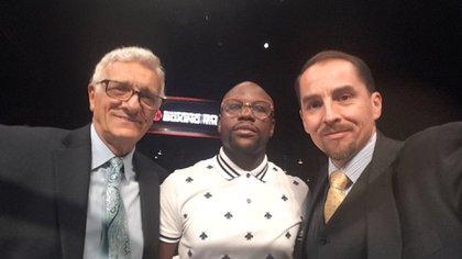Juan Larena, Floyd Mayweather y Víctor Silva en una velada de boxeo