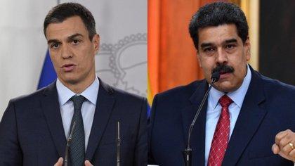 Pedro Sánchez y Nicolás Maduro