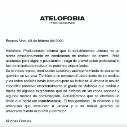 El comunicado que la productora de la artista lanzó para aclarar los motivos de la suspensión de los shows de esta fin de semana