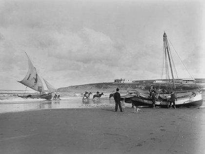 Harry Grant Olds: 414. Lanchas pescadoras. Mar del Plata, S.A. (circa 1901)