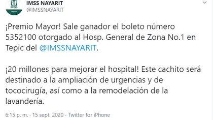 Este hospital fue uno de los ganadores del sorteo millonario (Foto: Twitter / @IMSSNAYARIT)
