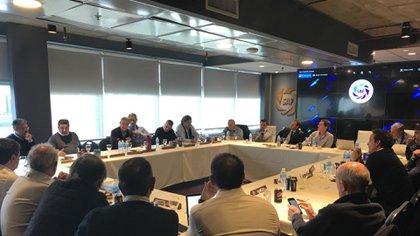 La sala donde se realiza la reunión de Comité Ejecutivo de la Superliga
