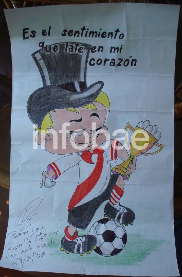 Hacía dibujos de River Plate, cuadro con el que simpatiza