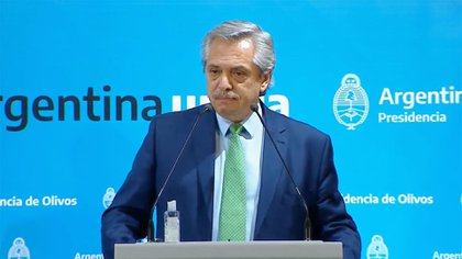 El presidente Alberto Fernández, durante el anuncio de la cuarentena obligatoria en todo el país a causa de la pandemia de coronavirus