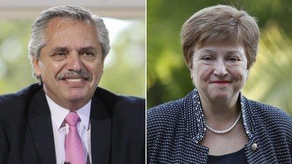 El presidente Alberto Fernández y la directora gerente del FMI, Kristalina Georgieva