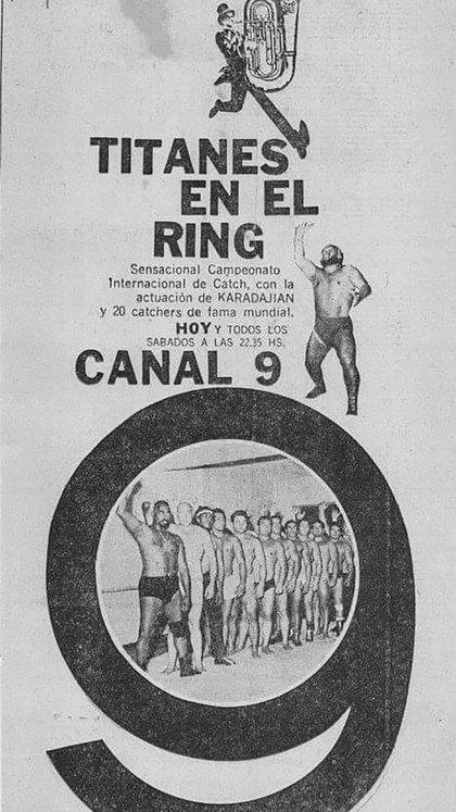 El anuncio de la llegada de Titanes en el Ring a Canal 9