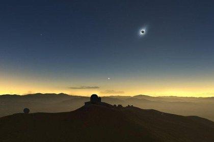 Desde el cielo se puede ver la espectacularidad del eclipse.