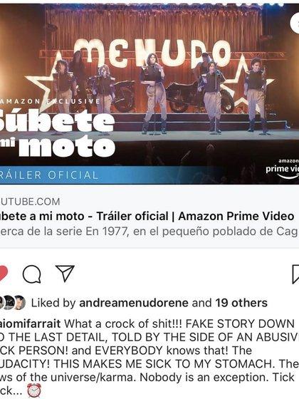 El cantante emitió duros comentarios en contra de la serie de Amazon Prime (Foto: Captura de pantalla)