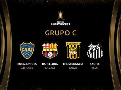 La placa del Grupo C de la Libertadores donde Boca y Santos volverán a cruzarse.