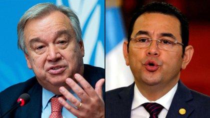 Antonio Guterres y Jimmy Morales