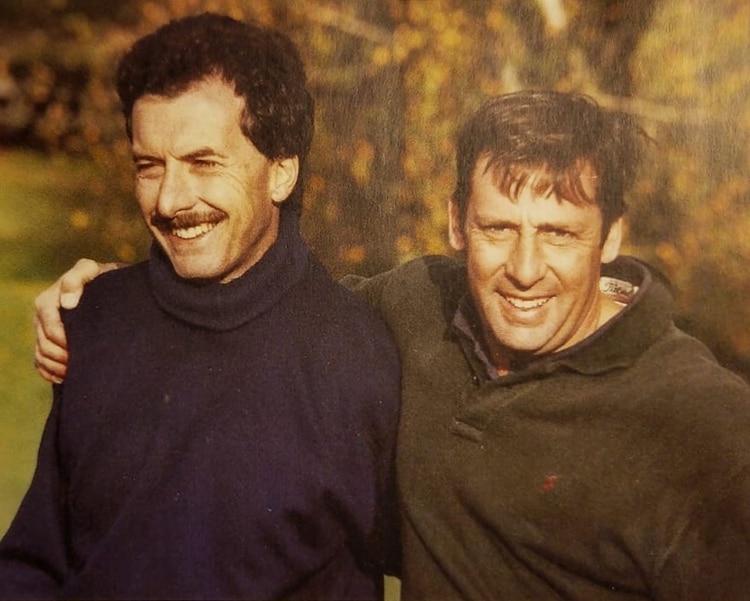 Macri con su amigo y compañero en el Colegio Cardenal Newman José Torello, hoy asesor presidencial, 20 años atrás.