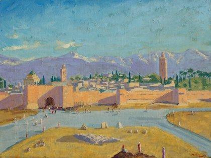 "Imagen del cuadro ""La torre de la mezquita Kutubiya"" cedida por Christie's. EFE"