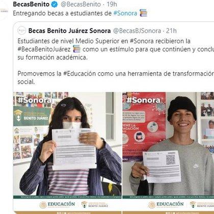 Jóvenes reciben 1,600 pesos. (Foto: tomada de Twitter)
