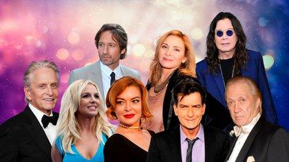 Michael Douglas, Lindsay Lohan, David Duchovny, Britney Spears, Charlie Sheen, Ozzy Osbourne, Kim Catrall y David Carradine
