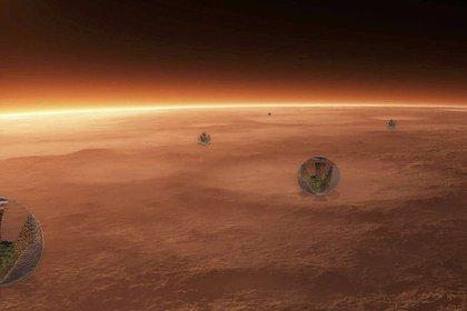 El proyecto pretende instalar en Marte esferas acondicionadas con los edificios y ciudades sustentables planteadas por los especialistas (Stefano Boeri Architetti)