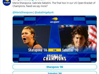 La publicación en el Twitter del US Open para que los fanáticos puedan votar por Sabatini o Sharapova