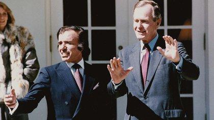 Carlos Menem junto a George Bush (1989)