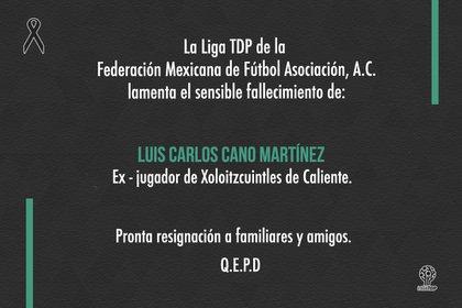 Condolencia institucional de la Tercera División Profesional de México (Foto: Twitter/ @LigaTDP)