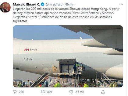 Marcelo Ebrard anunció la llegada de la vacuna Coronavac. (Foto: Twitter)