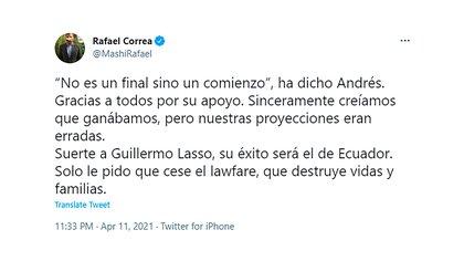 El tweet de Correa luego de la derrota electoral de su candidato y delfín político en Ecuador