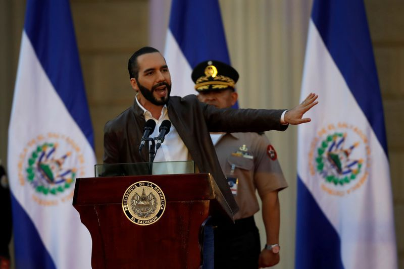 El Salvador President Nayib Bukele speaks during a ceremony to deploy military personnel to support his security plan in San Salvador, El Salvador, February 18, 2020. REUTERS/Jose Cabezas