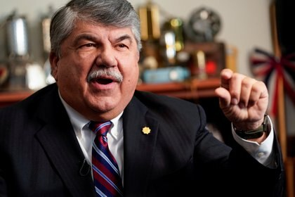 FILE PHOTO: President of the AFL-CIO Richard Trumka speaks about his role in securing labor protections in the USMCA trade agreement during an interview with Reuters in Washington, U.S., December 19, 2019. REUTERS/Joshua Roberts/File Photo