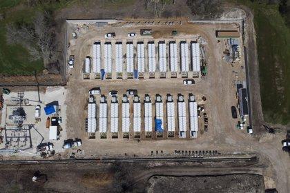 El parque energético bajo construcción en Angleton, Texas (Mark Felix/Bloomberg)