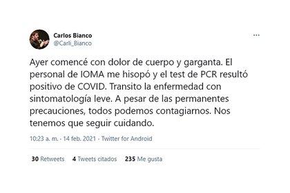 El tweet de Bianco, donde confirma su contagio de coronavirus