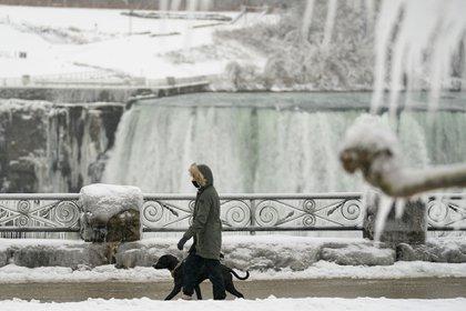 Una mujer pasea a su perro por las cataratas Horseshoe Falls en Niagara Falls, Ontario, el 27 de enero de 2021 (Foto de Geoff Robins / AFP).