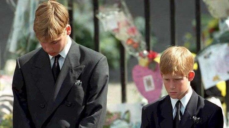 El príncipe William y el príncipe Harry en el funeral de Lady Di (AFP)