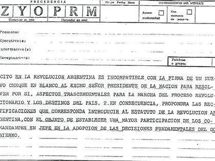 Párrafo del radiograma dirigido al Ejército con la decisión de la Junta Militar