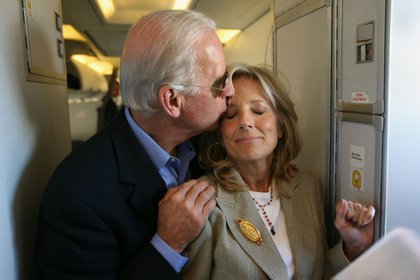 FILE -- Then Sen. Joe Biden (D-Del.), embraces his wife, Jill Biden, as they head from his home in Wilmington, Del. on Oct. 2, 2008, for the vice presidential debate at Washington University in St. Louis. Biden, who holds a doctorate in educational leadership, will continue to teach writing at Northern Virginia Community College, where she taught full-time during her two terms as second lady. (James Estrin/The New York Times)