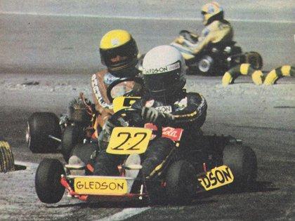 Senna en acción en el Sudamericano de Karting 1979 en San Juan. Detrás aparece Der Ohanessian. (Crédito: archivo CORSA)