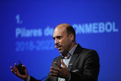 En la imagen un regitro del director de Desarrollo y secretario General Adjunto de la CONMEBOL, Gonzalo Belloso. EFE/Marcelo Sayão/Archivo