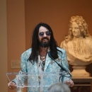 Alessandro Michele, creative director of Gucci, speaks during the press preview for the annual fashion exhibit