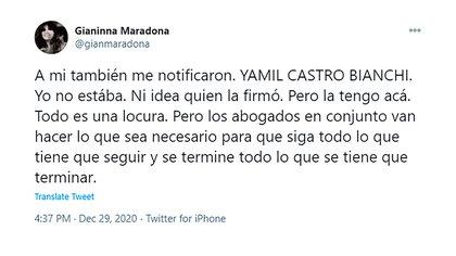 El descargo de Gianinna Maradona contra Yamil Castro Bianchi, socio de Matías Morla