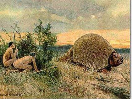 Una ilustración de cómo era el gliptodonte en la antigüedad