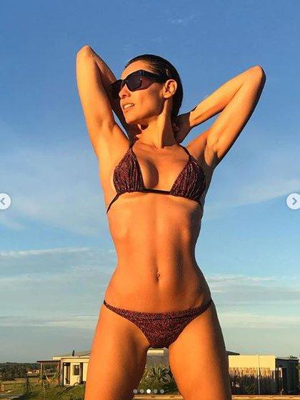 Bikini triangulito, con estampado de cebra y bombacha sin costura, un diseño by Cipitria de la colección de Pampita (@pampitaoficial)