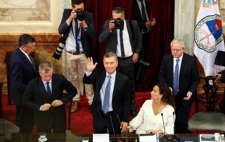 Mauricio Macri, Emilio Monzó y Gabriela Michetti, en la última apertura de sesiones del Congreso (Reuters)