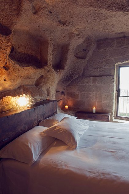 Le Grotte della Civita (Matera, Basilicata, Italia). Fue creado dentro de una cueva de piedra caliza que es patrimonio natural de la Unesco (Foto deStefano Tripodi/REDA&CO/UIG vía Getty Images)
