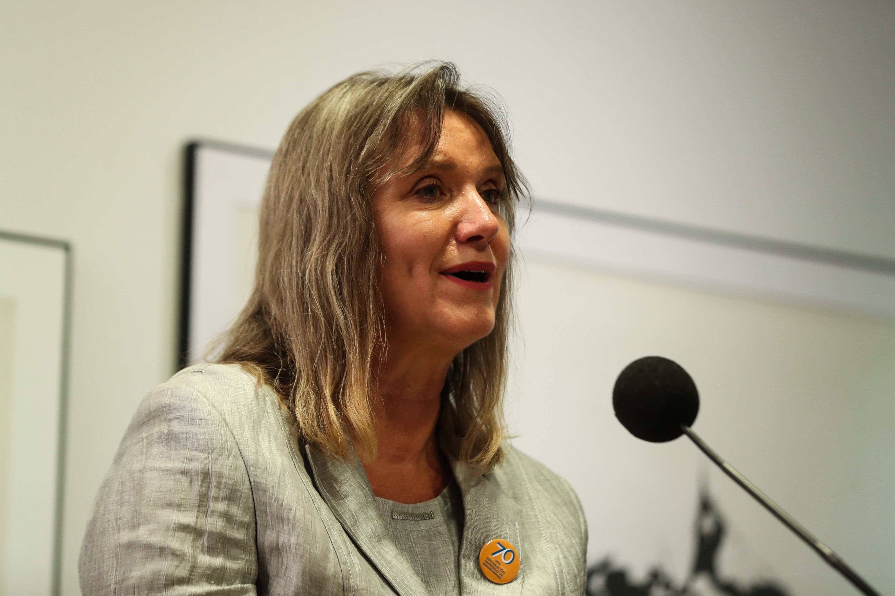 La representante de las Naciones Unidas en El Salvador, Birgit Gerstenberg. EFE/Alberto Valdés/Archivo