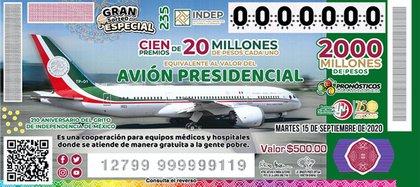 """""""Cachito"""" del  Gran Sorteo Especial No. 235 equivalente al Avión Presidencial (Foto: Lotería Nacional)"""