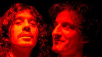 El Zorrito Fabián Quintiero y Fernando Samalea en una jam con García y Aznar en el Hotel Faena en 2005. (Foto: Nora Lezano / Archivo personal de Fernando Samalea)