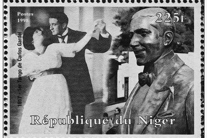 Estampilla de Carlso Gardel en la República de Niger.