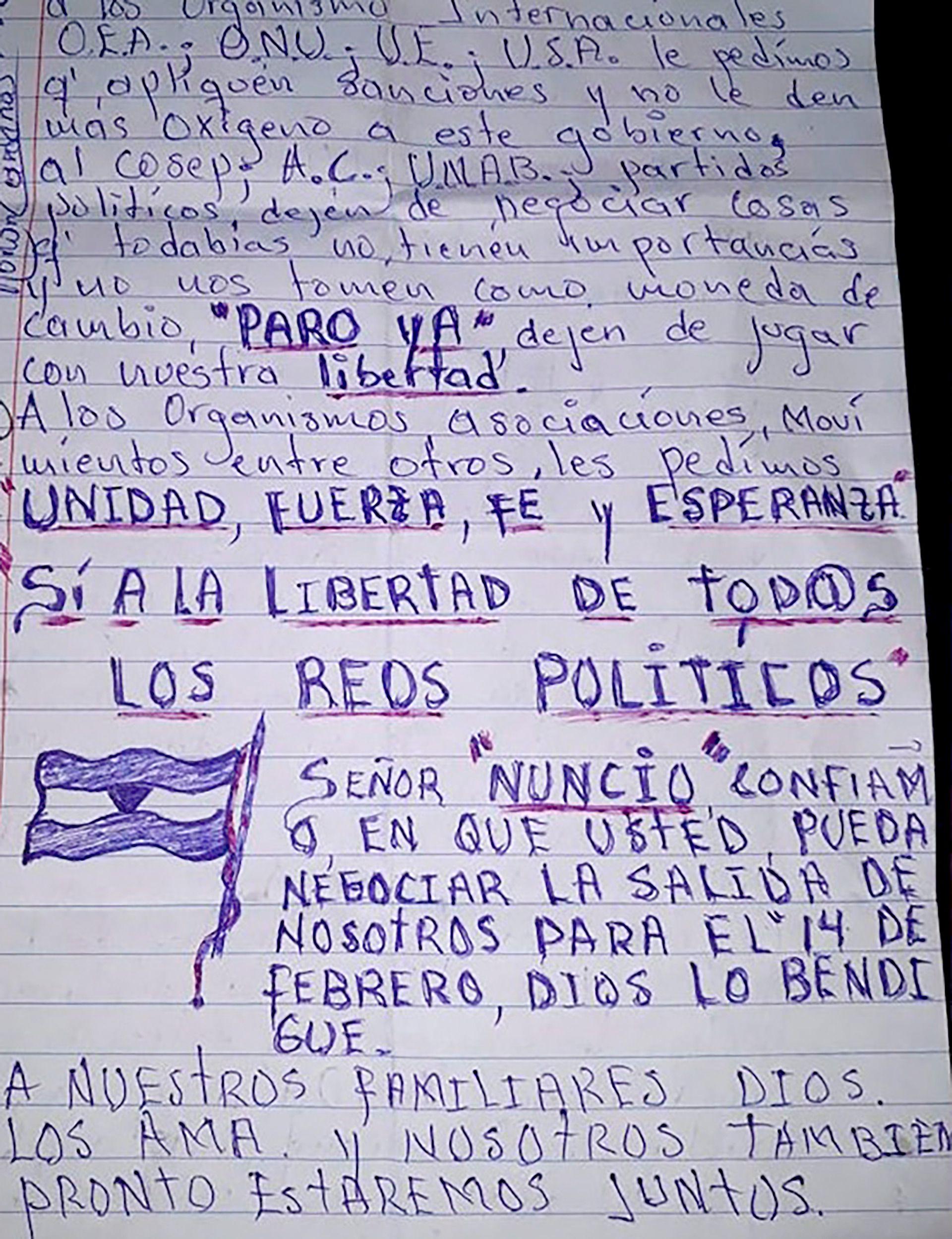 """Carta enviada por los presos políticos desde la cárcel Modelo donde piden que """"dejen de jugar"""" con su libertad."""