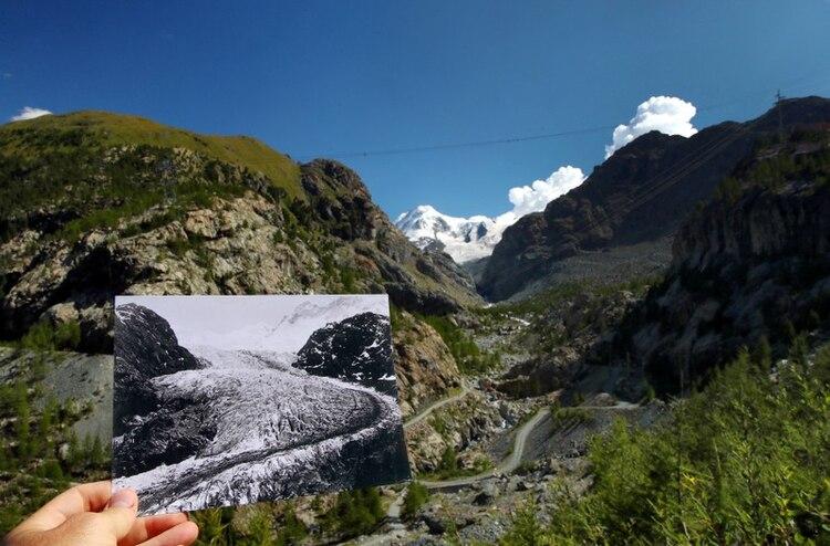 Una foto del Glaciar Gorner tomada en 1863 en Zermatt, Suiza y publicada por la Biblioteca ETH de Zurich, se exhibe en el mismo lugar el 25 de agosto de 2019. (REUTERS/Denis Balibouse Glaziologische Kommission der Akademie der Naturwissenschaften Schweiz/ETH Library Zurich)